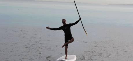 Olivier Drut en downwind sur l'étang de Berre
