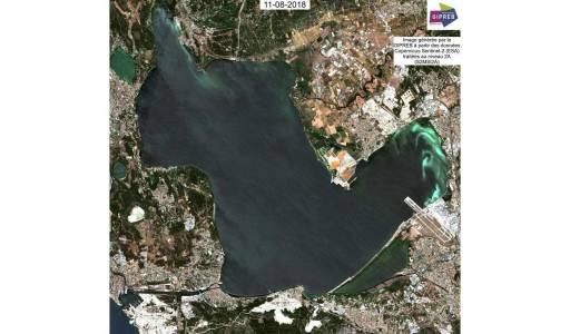 Image Sentinel 2 : Présence d'eaux blanches (Malaigue) en Aout 2018