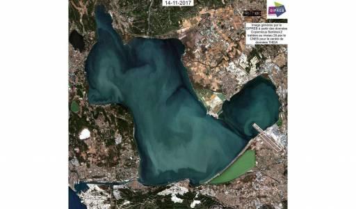 Image Sentinel 2 : Suite à un turbinage d'EDF, des masses d'eaux turbides circulent dans tout l'étang