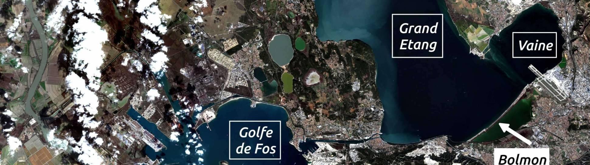 Carte de la situation de l'étang de Berre (Image Sentinel-2 Copernicus Sentinel Data)