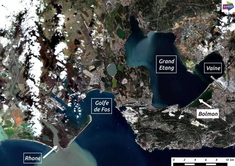 Carte de situation de l'étang de Berre (Image Copernicus Sentinel Data 2017)