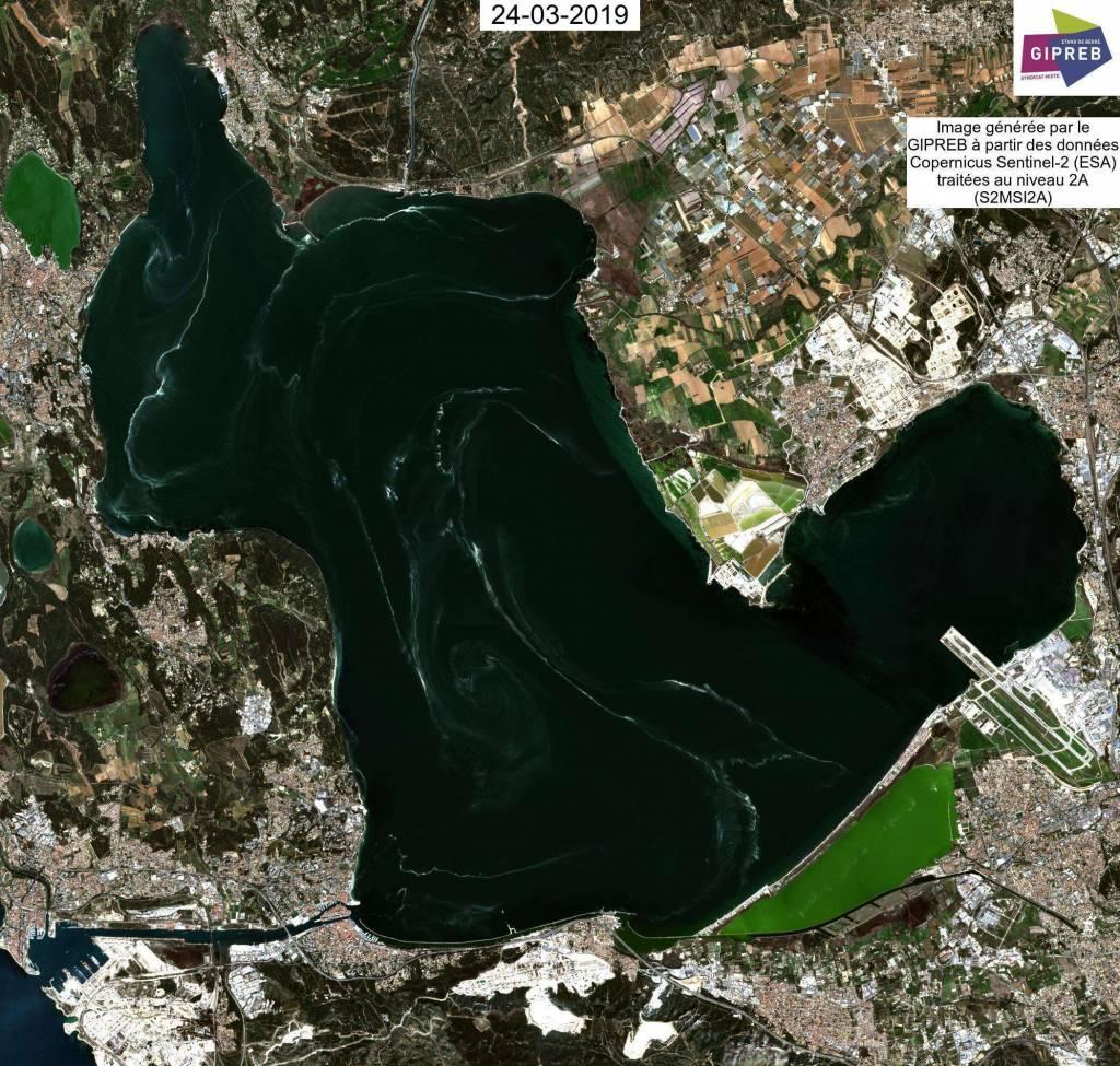 Image satellite Sentinel-2 avec nappes de pollen