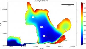 Position des stations de mesure d'EDF dans l'étang de Berre (SA1, SA2, SA3)